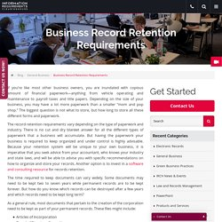 Business Record Retention Requirements