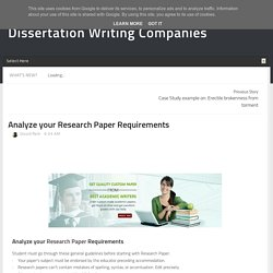 Analyze your Research Paper Requirements