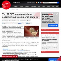 Top 20 SEO requirements for scoping your eCommerce platform