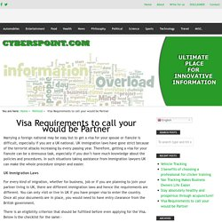 Visa Requirements to call your would be Partner – Innovative Information