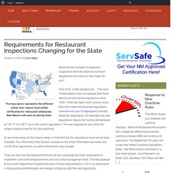 NM RESTAURANTS 16/10/15 Requirements for Restaurant Inspections Changing for the State (Nouveau Mexique)