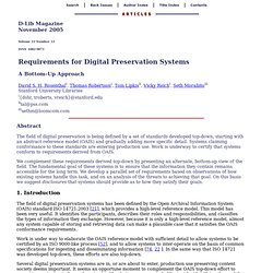 Requirements for Digital Preservation Systems: A Bottom-Up Approach