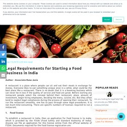 Legal Requirements for Starting a Food Business in India