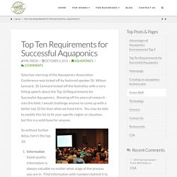 Top 10 Requirements for successful aquaponics