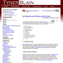 Ten Requirements Gathering Techniques -Tyner Blain
