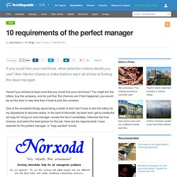 10 requirements of the perfect manager