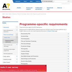 Programme-specific requirements