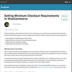 Setting Minimum Checkout Requirements in WooCommerce