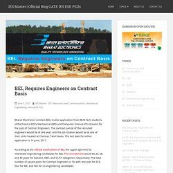 BEL Requires Engineers on Contract Basis - IES Master