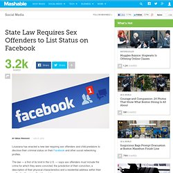 State Law Requires Sex Offenders to List Status on Facebook