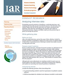 IAR: Conduct research > Analyzing interview data