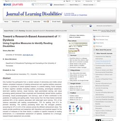 Toward a Research-Based Assessment of Dyslexia