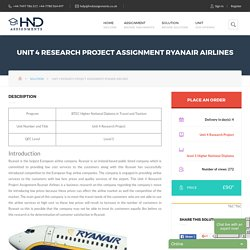 Unit 4 Research Project Assignment Ryanair Airlines - HND Help