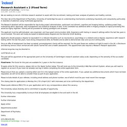 Research Assistant x 2 (Fixed Term) - Cambridge - Indeed Mobile