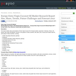 Europe Extra Virgin Coconut Oil Market Research Report Size, Share, Trends, Future Challenges and Forecast 2021