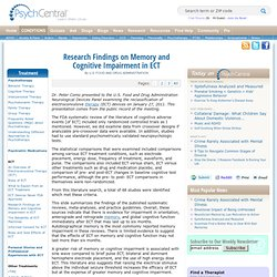 Research Findings on Memory and Cognitive Impairment in ECT