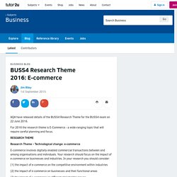 BUSS4 Research Theme 2016: E-commerce