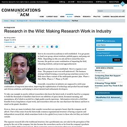 Research in the Wild: Making Research Work in Industry