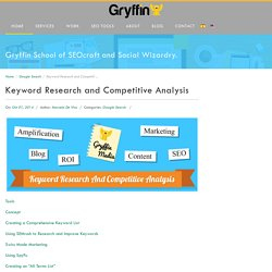 Keyword Research and Competitive Analysis