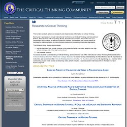 33rd international conference on critical thinking and education reform
