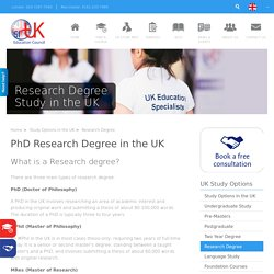 Research Degree study in the UK