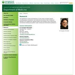 Research - Department of Medicine - University of Alberta