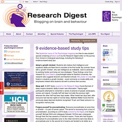 BPS Research Digest: 9 evidence-based study tips