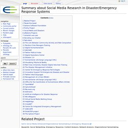 Summary about Social Media Research in Disaster/Emergency Response Systems - Knoesis wiki