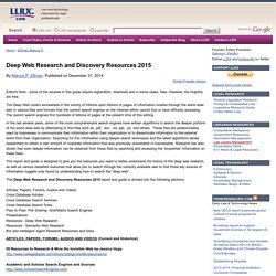 Deep Web Research and Discovery Resources 2015