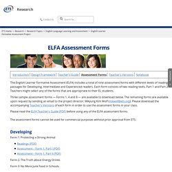 ETS Research: ELFA Assessment Forms