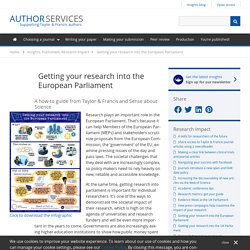 Getting your research into the European Parliament - Author Services