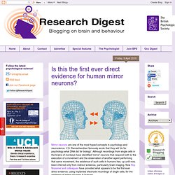 Is this the first ever direct evidence for human mirror neurons?
