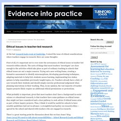 Ethical issues in teacher-led research
