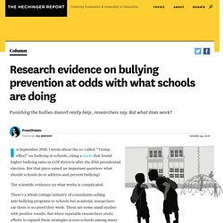 Research evidence on bullying prevention at odds with what schools are doing