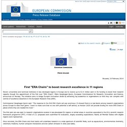"EUROPE 10/02/14 First ""ERA Chairs"" to boost research excellence in 11 regions"