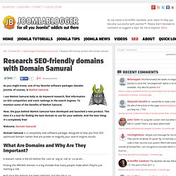 Research SEO-friendly domains with Domain Samurai - Joomla SEO -
