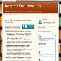 Research Fundermentals: REF: a Few Thoughts on Drafting Impact Case Studies