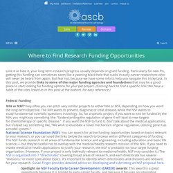 Where to Find Research Funding Opportunities - ASCB
