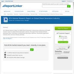 2014 Market Research Report on Global Diesel Generators Industry