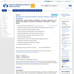 BMC - DEC 2011 - Research for food and health in Europe: themes, needs and proposals