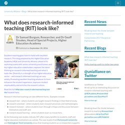 What does research-informed teaching (RIT) look like?