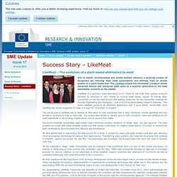 EUROPE 19/07/13 Projet de recherche 2010-2013 - LikeMeat – The evolution of a plant-based alternative to meat