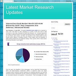 Latest Market Research Updates: Interactive Kiosk Market Worth USD 41.88 Billion By 2025