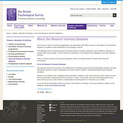 About the Research Interests Database