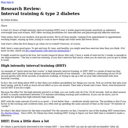 Research Review: Interval training & type 2 diabetes