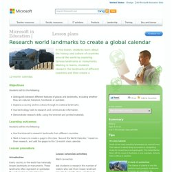 Research world landmarks to create a global calendar