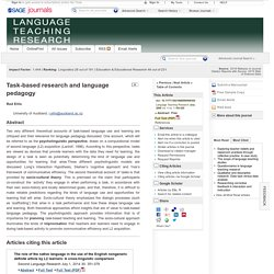 Task-based research and language pedagogy