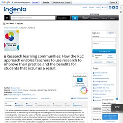 Research learning communities: How the RLC approach enables teach...: Ingenta Connect
