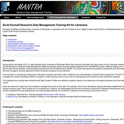 Research Data MANTRA - DIY training kit for librarians