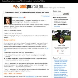 Keyword Basics: How To Do Keyword Research For Marketing With Articles